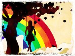 Grunge girl on swing and rainbow - stock illustration