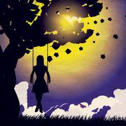 Grunge girl on swing silhouette at night - stock illustration