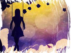 Grunge girl on swing silhouette at night - stock illustration