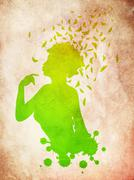 Grunge girl with butterflies Stock Illustration