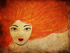 Grunge girl with red hair Stock Illustration