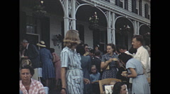Vintage 16mm film, 1948, Quebec, Tadoussac Hotel people garden party Stock Footage