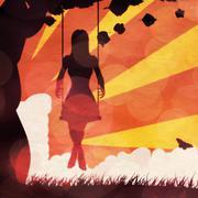 Grunge sunset girl on swing - stock illustration