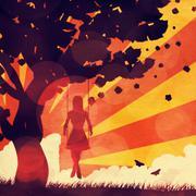 Grunge sunset girl on swing Stock Illustration