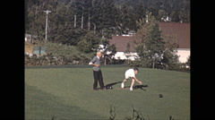 Vintage 16mm film, 1948, Quebec, Tadoussac Hotel lawn bowling #2 Stock Footage