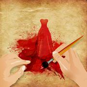 Hands painting red dress - stock illustration