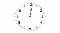 Animation, clock time without seconds, white background, 4K Stock Footage