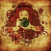 Photographer girl grunge illustration - stock illustration