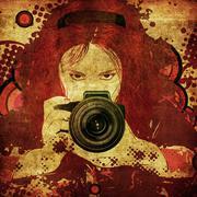 Photographer girl grunge illustration Stock Illustration
