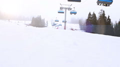 Ski Lift on the popular resort timelapse video, Slovakia Stock Footage