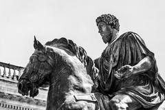 Equestrian statue of Marco Aurelio in Rome Stock Photos