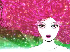 Stock Illustration of Pink haired girl