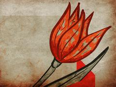Red tulip on grunge background - stock illustration