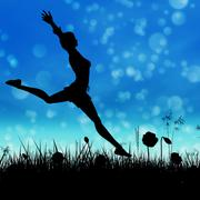 Stock Illustration of Silhouette of a girl jumping on the meadow