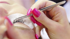 Facial eyelashes treatment closeup 4K - stock footage