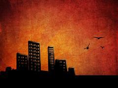 Sunset city grunge background Stock Illustration