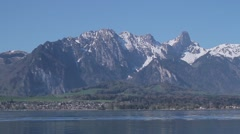 Lake with Swiss Alps - stock footage