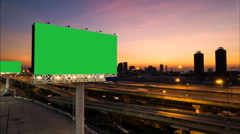 Advertising billboard green screen on sidelines of expressway. - stock footage