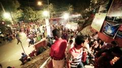 Kali Mandir Crowd Durga Puja Festival Timelapse Stock Footage