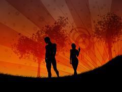 Walking at sunset - stock illustration