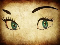 Woman eye in grunge - stock illustration
