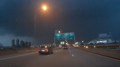 Lightning storm when driving on expressway highway extreme weather Stock Footage