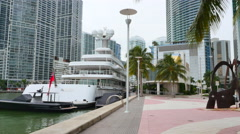 Miami River Walk by the Intercontinental Hotel Stock Footage