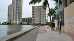 Miami River Walk by the Intercontinental Hotel - stock footage
