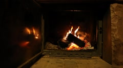 Wood logs fire burn in fireplace, romantic atmosphere Stock Footage