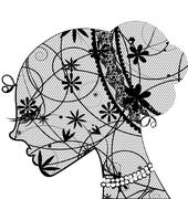 lace female head - stock illustration
