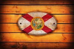 Wooden Florida flag. Stock Illustration