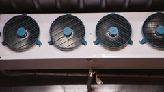 Industrial fans inside the freezer Stock Footage