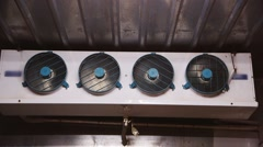 Several fans inside the freezer Stock Footage