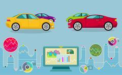 Auto Diagnostics Monitor Flat Concept - stock illustration