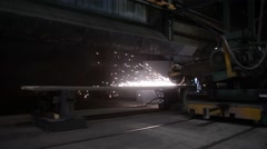 Shot of Machine Moving and Grinding on Piece of Steel Stock Footage