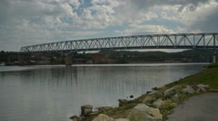 Time Lapse Shot of Rochester-Monaca Bridge from down at the River Stock Footage