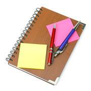 Notepad and pens. Stock Photos