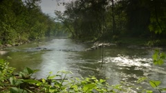 Shot of Water Running through a Creek in Beaver COunty, Pennsylvania - stock footage
