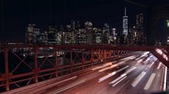 New York Brooklyn Bridge Evening Traffic - stock footage