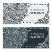 monochrome hand drawn zentangle banner icons templates. - stock illustration