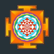 colored Sri yantra illustration. - stock illustration