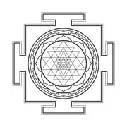 monocrome outline Sri yantra illustration. - stock illustration