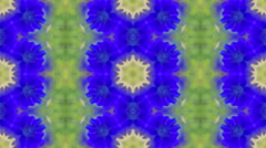 Stock Video Footage of Summer mosaic pattern with floral motif in green and sapphire colors