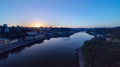 Sunrise at the most emblematic area of Douro river timelapse. World famous Porto Stock Footage