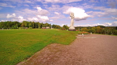 Quick shot of the Estonian Mother Monument in a hill Stock Footage