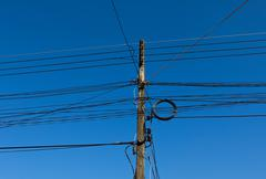 Power poles and power lines Stock Photos