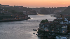 Day to Night view of the historic city of Porto, Portugal timelapse  from the Stock Footage