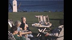 Vintage 16mm film, 1948, Quebec, Tadoussac Hotel afternoon tea Stock Footage