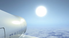 Plane aircraft airliner sky travel aerial view Stock Footage