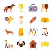 Dogs and accessories flat icons set Stock Illustration